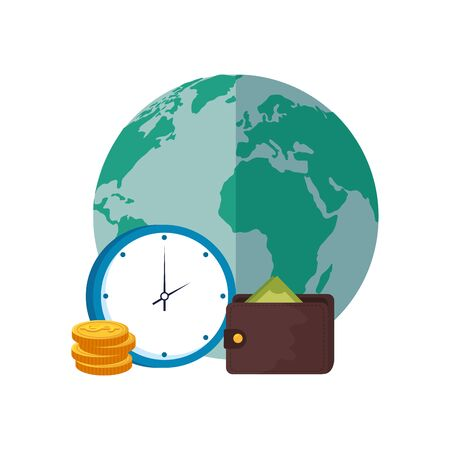 wallet with planet earth and clock vector illustration design 向量圖像