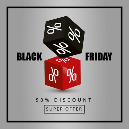 black friday poster and fifty discount with decoration vector illustration design