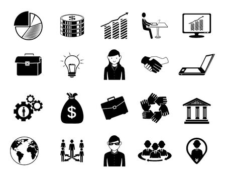 bundle of people silhouette and set business icons vector illustration design