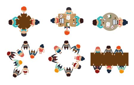 bundle with view aerial of teamwork meeting vector illustration design Illustration
