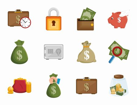 bundle of business set icons vector illustration design 向量圖像