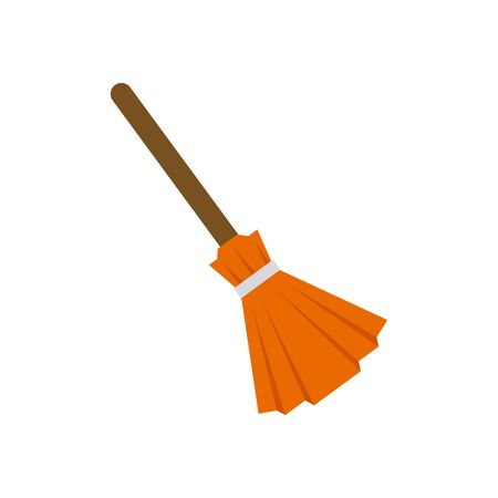halloween witch broom isolated icon vector illustration design