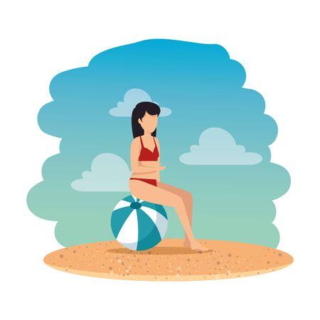 woman with swimsuit seated in balloon on the beach vector illustration design Stock Illustratie