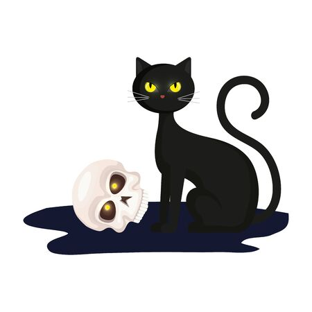 cat with skull of halloween vector illustration design