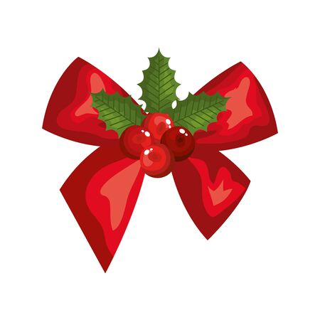 bow ribbon christmas with leafs decoration vector illustration design Vetores
