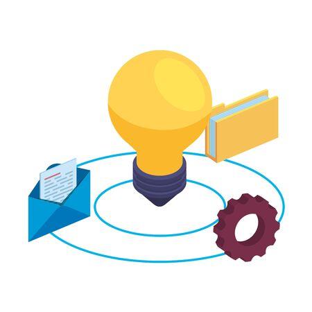 bulb light idea and data icons vector illustration design Ilustração