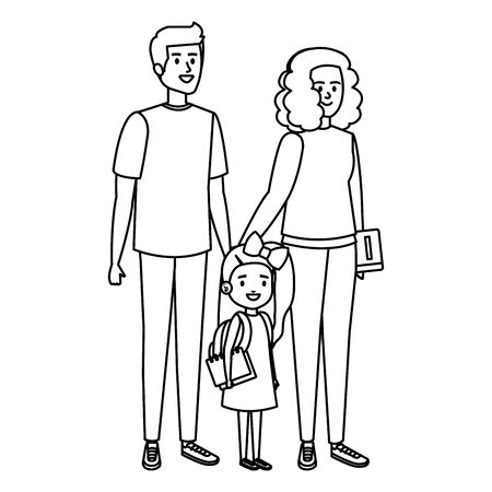 happy student girl with couple teachers vector illustration design Illustration