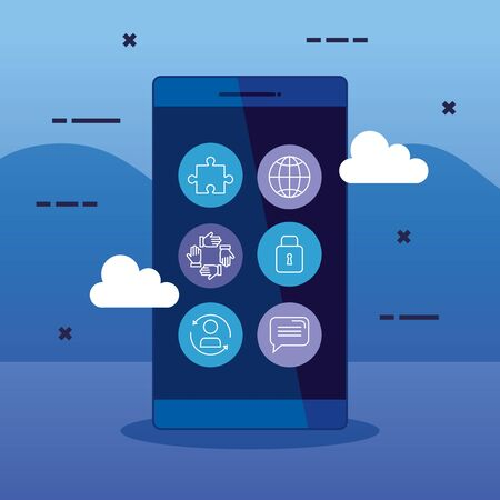 business smartphone technology strategy with icons to teamwork structure, vector illustration