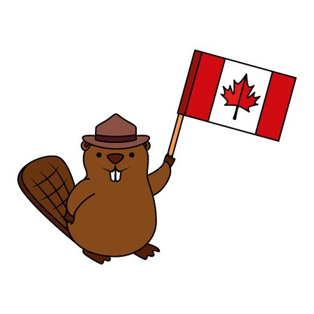beaver with ranger hat and canadian flag vector illustration design