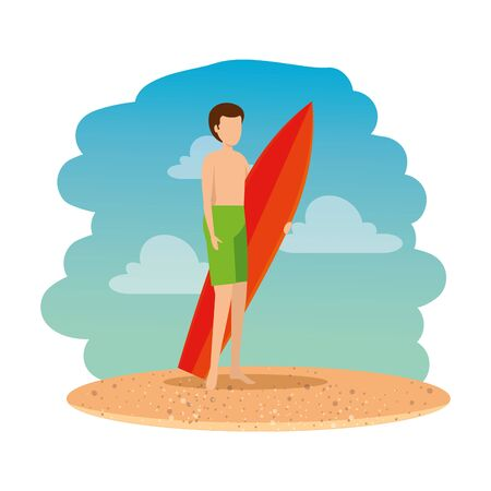 young man with swimsuit and surfboard on the beach vector illustration design Archivio Fotografico - 134832583