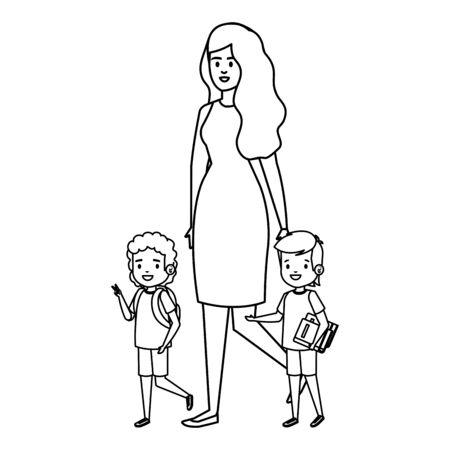 happy students boys with female teacher teacher vector illustration design