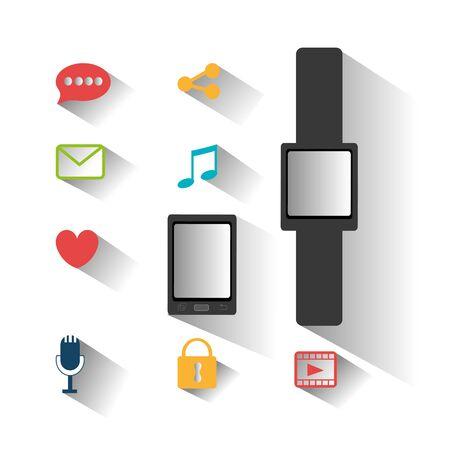 bundle of smartwatch and set icons vector illustration design