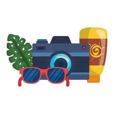 solar blocker bottle with camera and sunglasses vector illustration design Archivio Fotografico - 134834003