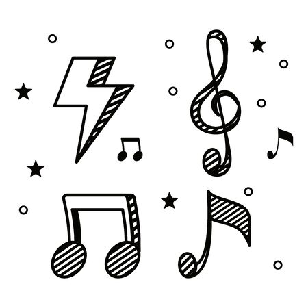 set of thunder with musical melody notes to music style vector illustration