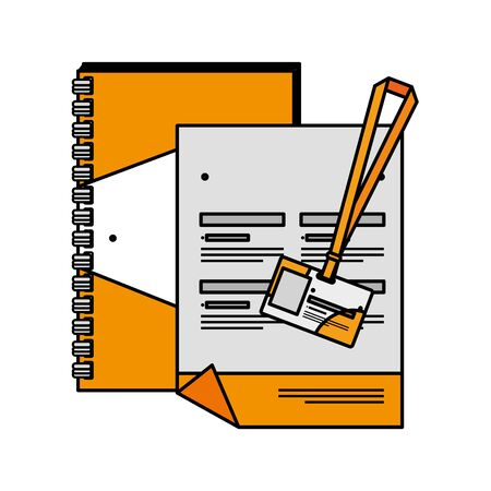 notepad and document id with company emblem print vector illustration design