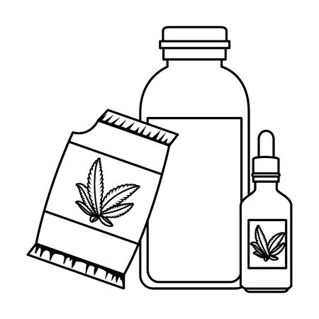 cannabis seeds bag with syrup and dropper vector illustration design Stock Vector - 134841671
