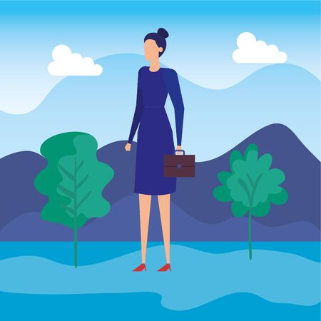 elegant businesswoman worker in the field vector illustration design Ilustração