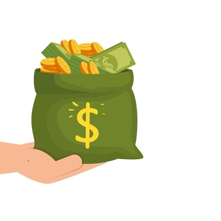 hand with money bag cash isolated icon vector illustration design 向量圖像