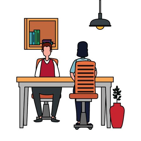 couple in office workplace scene icons vector illustration design