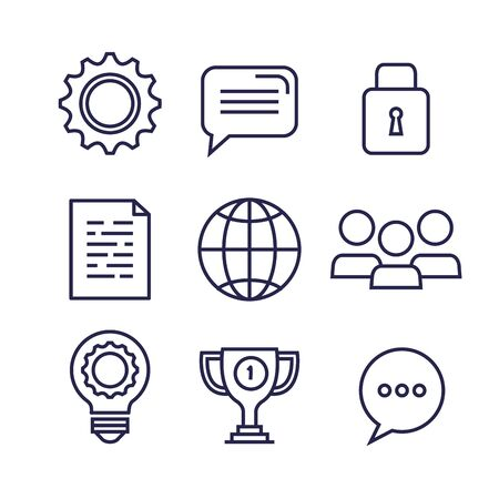 set of business icons to office strategy report over white background, vector illustration