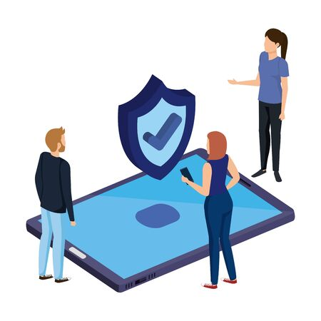 people with smartphone and shield security vector illustration design Иллюстрация