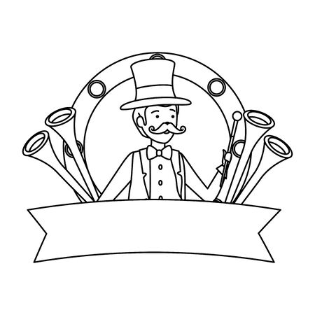circus magician with hat and trumpets in frame vector illustration design