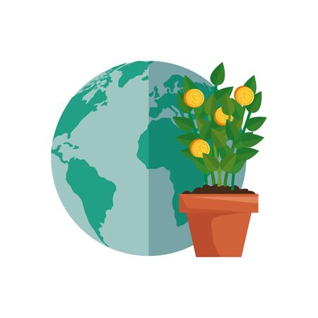 plant of coins with planet earth vector illustration design