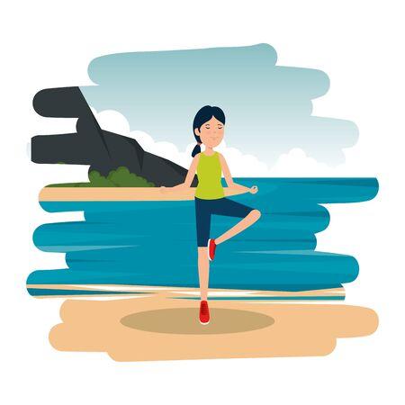 athletic girl practicing exercice on the beach vector illustration design Standard-Bild - 134845419