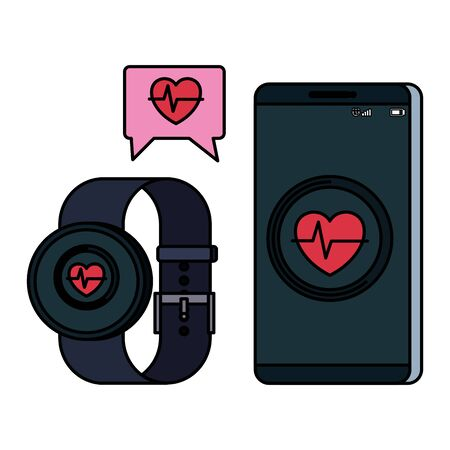 smartphone and smartwatch with heart cardio application vector illustration design