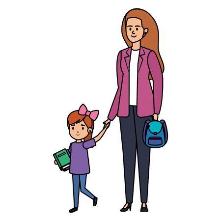 happy student boy with female teacher vector illustration design Illustration