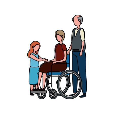 cute grandparents couple in wheelchair with granddaughter vector illustration