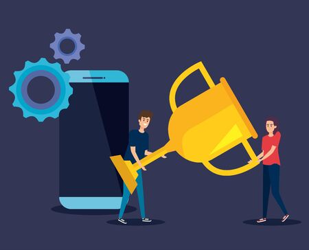 man and woman with prize cup and smartphone with gears to teamwork strategy vector illustration