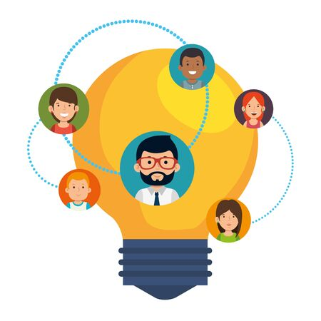 bulb light idea with business people community vector illustration design