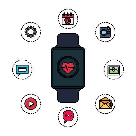 smartwatch with cardiology and set applications vector illustration design Stok Fotoğraf - 134847277