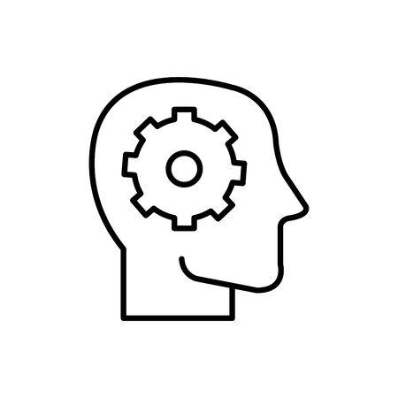 Gear inside head design, construction work repair machine part technology industry and technical theme Vector illustration Banco de Imagens - 134851966