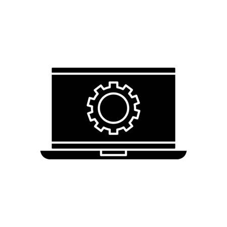 Gear inside laptop design, construction work repair machine part technology industry and technical theme Vector illustration Banco de Imagens - 134851984