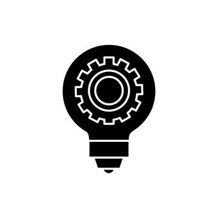 Gear inside light bulb design, construction work repair machine part technology industry and technical theme Vector illustration Banco de Imagens - 134852030