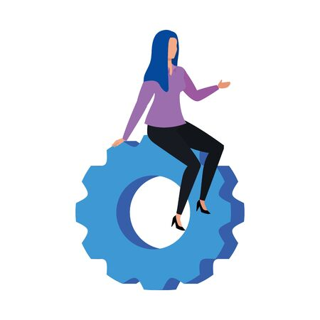 Gear and woman design, construction work repair machine part technology industry and technical theme Vector illustration  イラスト・ベクター素材