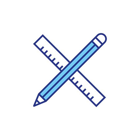 Ruler and pencil design, Construction work repair reconstruction industry build and project theme Vector illustration