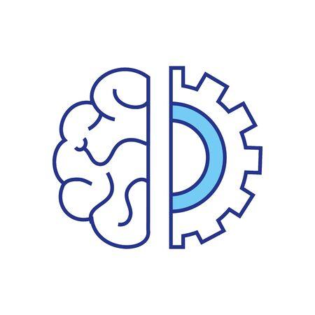 Diseño de engranajes y cerebros, industria de tecnología de piezas de máquinas de reparación de trabajos de construcción y tema técnico Ilustración vectorial