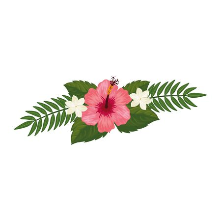 cute flower with branches and leafs isolated icon vector illustration design Ilustracja