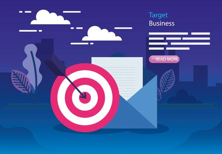 Target and envelope design, Solution success strategy idea problem innovation and creativity theme Vector illustration