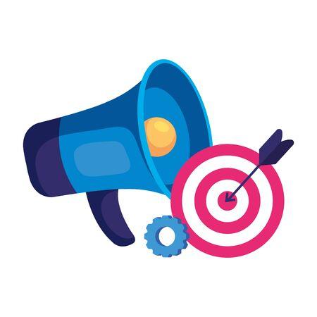 Megaphone and target design, speaker bullhorn announce speech message communication and sound theme Vector illustration Illusztráció