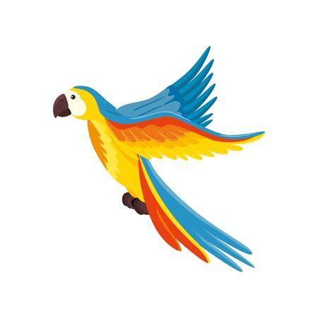 papuga zwierzę egzotyczny na białym tle ikona wektor ilustracja projekt