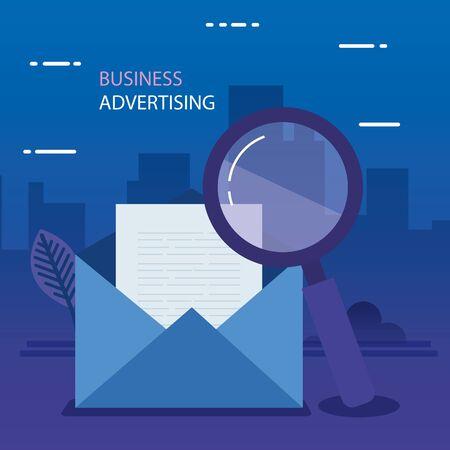 Conception de feuille et de loupe d'enveloppe, carte de communication marketing de lettre de message de courrier électronique et thème de document Illustration vectorielle