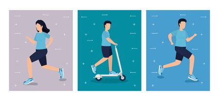Healthy lifestyle design, Fitness gym bodybuilding bodycare activity exercise and diet theme Vector illustration Illustration