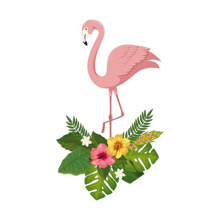 flamingo pink animal with flowers and leafs vector illustration design Ilustracja