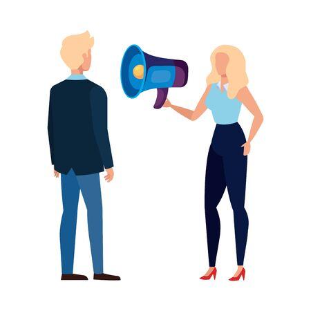 Woman man and megaphone design, Amplifer speaker bullhorn announce speech message communication and sound theme Vector illustration Illusztráció