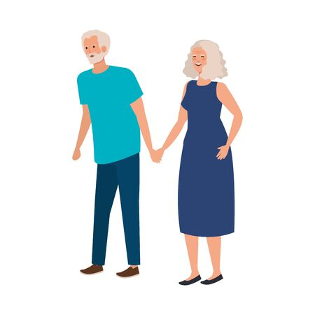old couple elegant avatar character vector illustration design