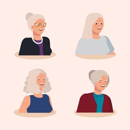 group of old women avatar character vector illustration design Ilustracja